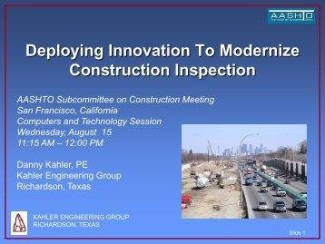Deploying Innovation to Modernize Highway Construction