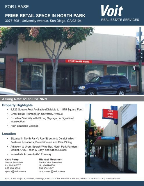 FoR LEASE PRIME RETAIL SPACE IN NORTH PARK