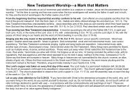 New Testament Worship—a Mark that Matters - Gospel Lessons