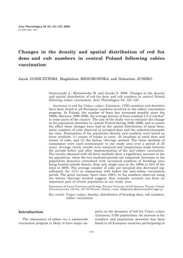 Changes in the density and spatial distribution of red fox dens and ...