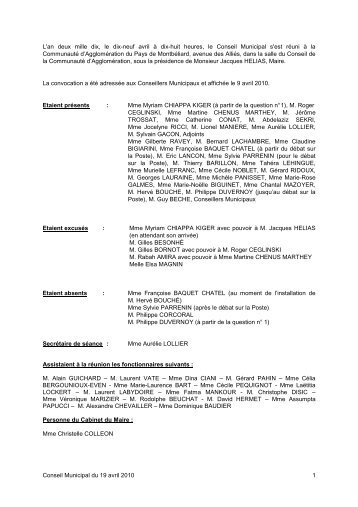 Consulter le Procès-verbal du 19 avril 2010 - Montbéliard