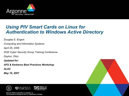 Using PIV Smart Cards on Linux for Authentication to Windows