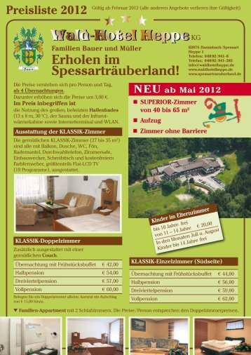 Preisliste 2012 - Waldhotel Heppe