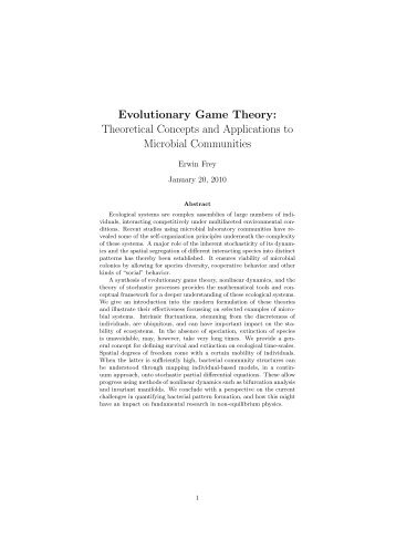 Evolutionary Game Theory: Theoretical Concepts and Applications to