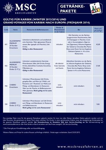 Getränkepakete für Karibik im Winter 2013/2014 und Grand ...