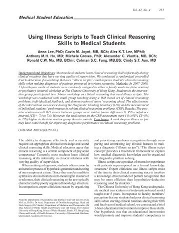 Using Illness Scripts to Teach Clinical Reasoning Skills to ... - STFM