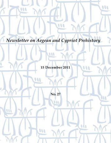 Newsletter on Aegean and Cypriot Prehistory