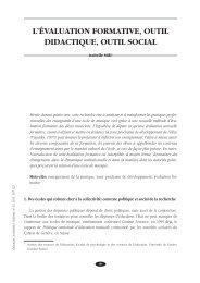 L'ÉVALUATION FORMATIVE, OUTIL DIDACTIQUE, OUTIL SOCIAL