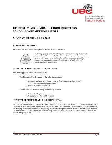 upper st. clair board of school directors school board meeting report ...