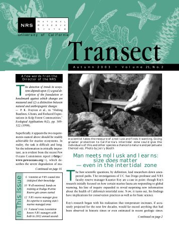 Transect vol.21:2 - Natural Reserve System