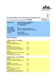Zusatzqualifizierung Deutsch als Zweitsprache Stoff-/Zeitplan: