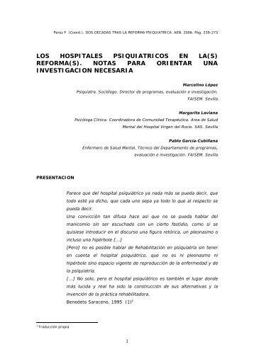 Los Hospitales Psiquiátricos en la(s) reforma(s). Notas para orientar ...