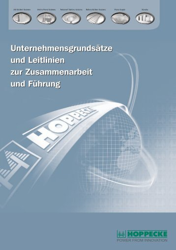 Unternehmensgrundsätze - HOPPECKE Batterien