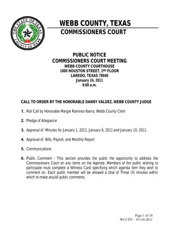 webb county, texas commissioners court public notice ...