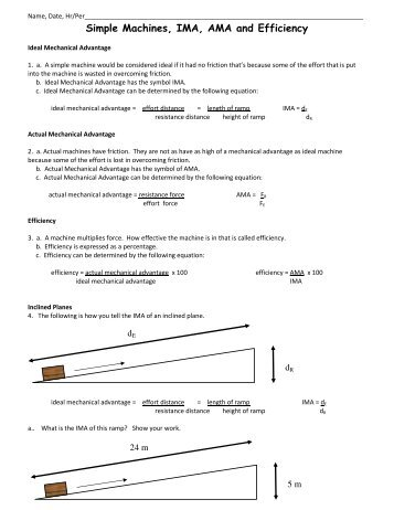 Ma And Efficiency Worksheet Murrayphysics
