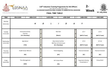Time Table - Week-02 - lbsnaa