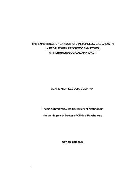 nottingham dclinpsy thesis