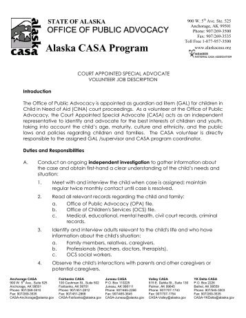 alaska casa volunteer job description