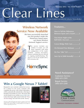 October 2012 Clear Lines - Clear Creek Communications
