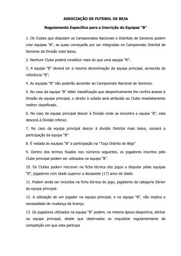 Regulamento das equipas B - Associação de Futebol de Beja