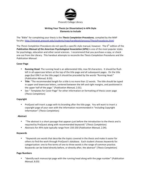 Writing Your Thesis In APA Style - Prescott College