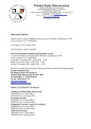 Informacje Oglne: - Polska Rada Resuscytacji