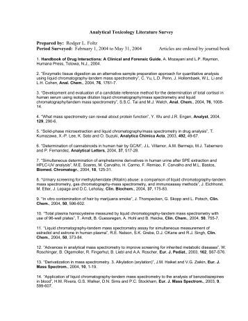 Analytical Toxicology Literature Survey