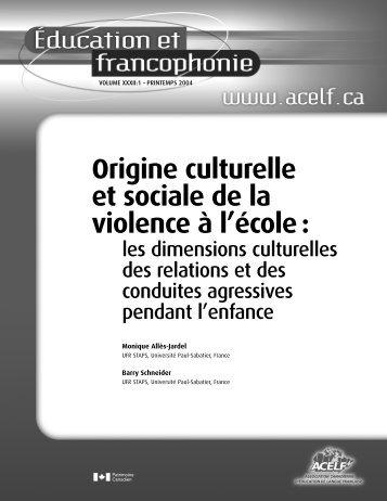 Origine culturelle et sociale de la violence à l'école: les ... - acelf