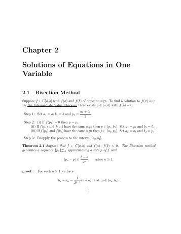 Chapter 2 Solutions of Equations in One Variable