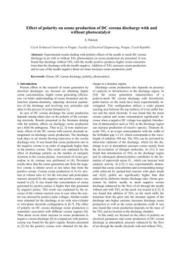 Effect of polarity on ozone production of DC corona discharge with ...