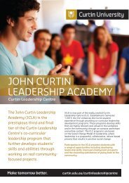 JOHN CURTIN LEADERSHIP ACADEMY - Unilife - Curtin University