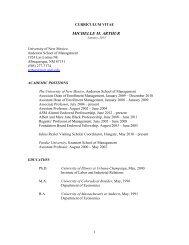 CURRICULUM VITAE - Anderson School of Management ...