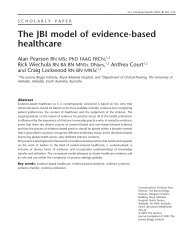 The JBI model of evidence-based healthcare - EXTRANET ...