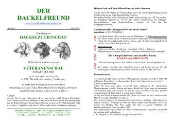 Der Dackelfreund - Nr. 2/2007 - Teckelklub Wiesbaden/ Mainz