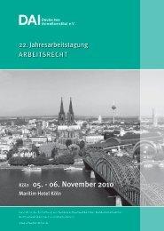 Köln 05. - 06. November 2010 - Deutsches Anwaltsinstitut eV