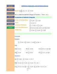 Definite Integrals and Antiderivatives - The Burns Home Page