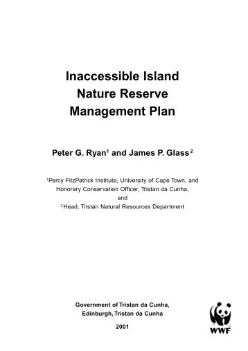 Inaccessible Island Nature Reserve Management Plan - UKOTCF