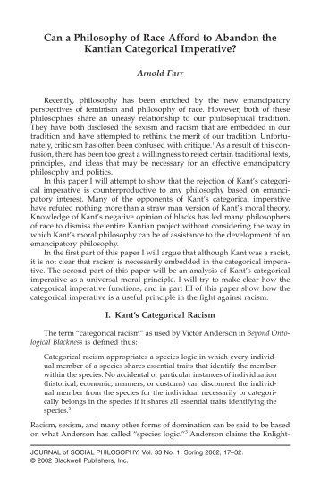 Can a Philosophy of Race Afford to Abandon the Kantian ...
