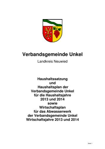 Doppelhaushalt 2013 / 2014 - Verbandsgemeindeverwaltung Unkel