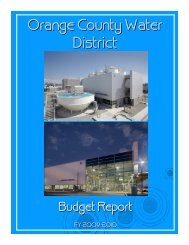 Orange County Water District Budget Report Fiscal Year 2009-10