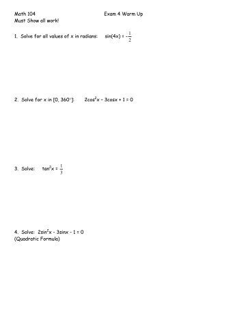 Math 104 Exam 4 Warm Up Must Show all work! - San Diego Mesa ...