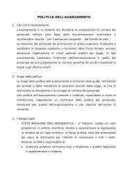 POLITICA DELL'AVANZAMENTO - Aeronautica Militare Italiana