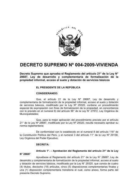 DECRETO SUPREMO Nº 004-2009-VIVIENDA - Faolex