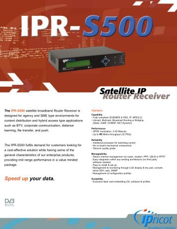 IPR-S500 Satellite IP Router Receiver - TBC Integration