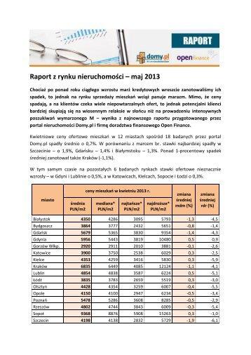 Raport z rynku nieruchomości – maj 2013 - QBusiness.pl