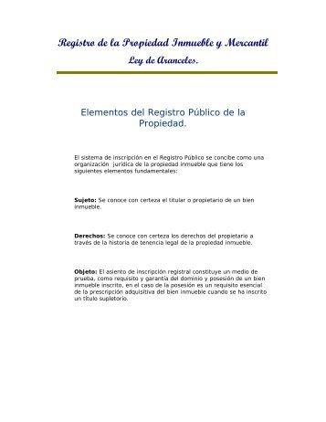 Registro de la Propiedad Inmueble y Mercantil Ley ... - Poder Judicial