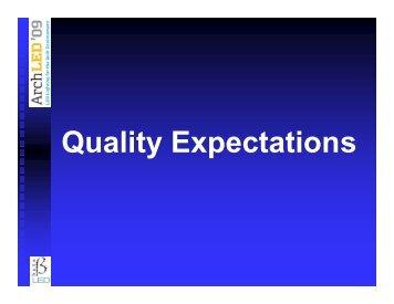Q lit E t ti Quality Expectations - Architectural SSL