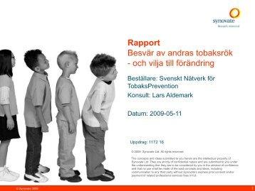 RAPPORT Rökfritt 2009-05-11[1] - Tobaksfakta