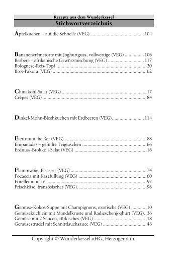 Stichwortverzeichnis - Wunderkessel-kochbuch.de