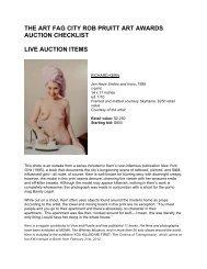 the art fag city rob pruitt art awards auction checklist live auction items